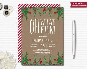 Rustic Christmas Invitation Oh What Fun Holiday Invitation Christmas Party Holiday Party Printable Digital Christmas Invite Pine Branches