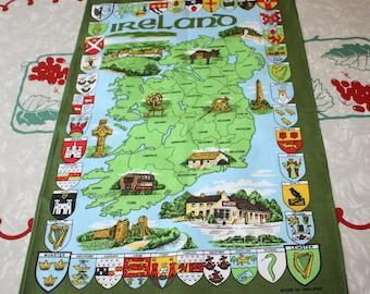 Ireland Country Map Vintage Cotton Tea Towel