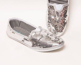 Sequin - Bright Silver Canvas Classics Alpargata Slip On Casual Shoes