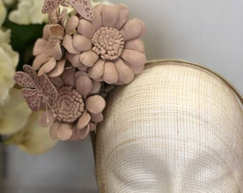 Whimsical Headband with a reversible bouquet of Leather Daisies and Butterflies