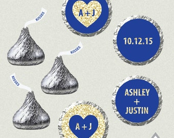 Heart Hershey Kiss Labels, Printable Wedding Kiss Stickers, Royal Blue Kisses, Blue and Gold Wedding, Gold Wedding Kiss Favor, Hershey Kiss