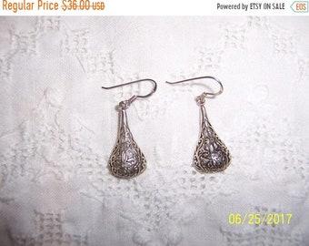 SUMMER SALE 20% OFF, Vintage Filigree Drop earrings. Sterling silver.