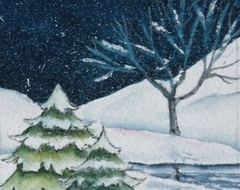 Art Card of Winter Snow and Stream Original Watercolor Artist Trading Card Original Art ACEO