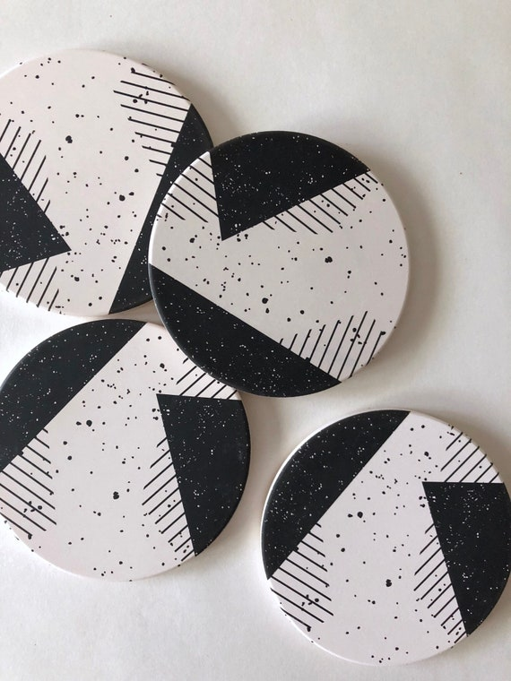 MEMPHIS COASTERS set of 4 ceramic coasters