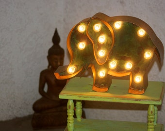 Large Metal Elephant Marquee Vintage Inspired…. Baby Family Room Wedding Birthday Party