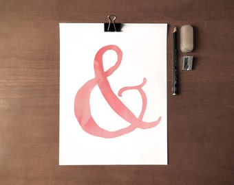 Ampersand - & - Instant Download - 8x10 - 11x14 - Printable art - Pink - Lettering - Watercolor - Wall Art - Home Decor