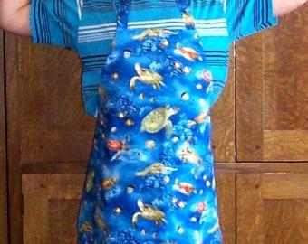 Sea Turtle Apron - Child Size 8 Aquatic Print Apron - Blue