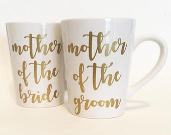 Set of 2 - Mother of the Bride, Mother of the Groom Ceramic Coffee Mugs Gold in Script Font / Bridal Gift