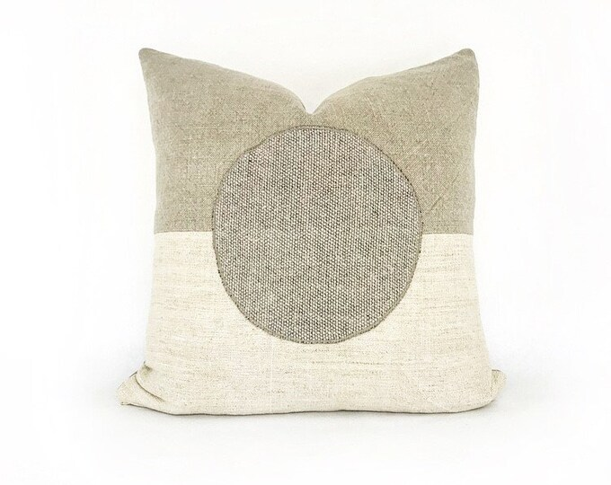 Antique French Linen and Belgian Linen Modern Circle Pillow Cover 20x20