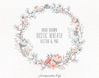 Floral Wreath Hand Drawn Clipart Wedding Invitation Clip Art Commercial Use PNG And Vector Flowers CM0062w2