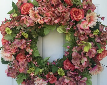 Mauve Hydrangea with Coral Roses and Lush Greens Wreath