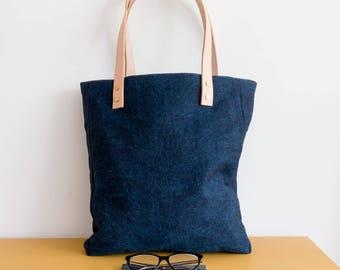 THE TRESTA denim tote bag with leather.  Denim shopper / Book bag / Casual bag / Handmade bag.