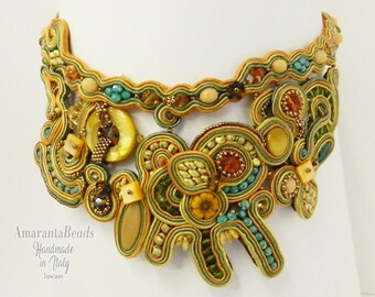 Soutache necklace, Soutache collar, Soutache statement jewelry, Embroidery soutache, Made in Italy,  Luxury soutache, Couture jewelry
