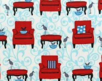 Turquoise patchwork, perfectly perched, Robert Kaufman fabric