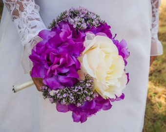 Clearance! Purple, Lilac and Ivory Bridal Bouquet ( Great Keepsake Item )