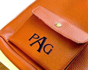 Monogram Cross Body Purse Faux Leather Pebble Grain Navy Turquoise Kiwi Camel Burnt Orange Bag Crossbody
