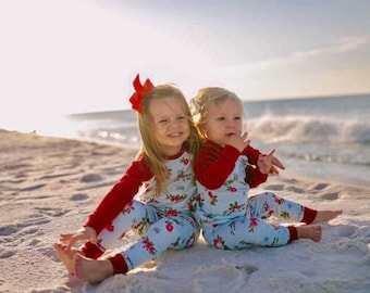 Personalized Floral Christmas Pajamas - Handmade - Holiday - Floral- Photography- Jammies- Clothing - Christmas Pictures - Girls- Aqua- Red