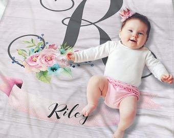 Baby Floral Blanket - Baby Name Blanket - Newborn Baby Gift - Swaddling blanket - Receiving Blanket - Baby Girl Gift - Floral Baby Bedding