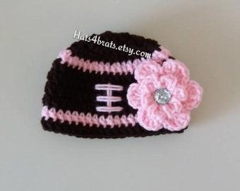 Baby Girl Football Hat, Girls Football Hat, Crochet Football Hat, Newborn Football Hat, Girls Newborn Football Hat, Baby Girl Hat, Crochet