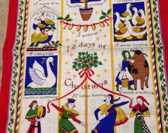 Vintage 12 days of christmas towel pure linen by ulster