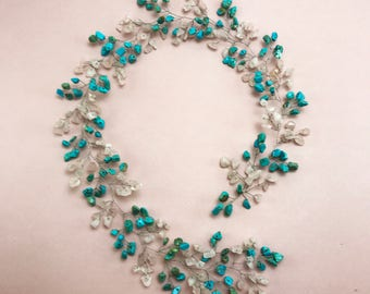 Bridal headpiece Turquoise Hair vine Turquoise jewelry Bridal hair vine hair vine jewelry hair vine wedding crystal hair vine rose quartz