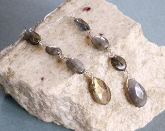 Labradorite Drop Sterling Silver Earrings