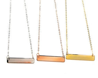 Personalized Bar Rectangle Necklace - 16K Gold, Rose Gold, Silver