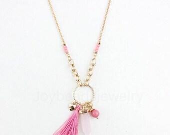 Rose Quartz Agate Tassel Chain Necklace , Tassel Necklace  Crystal Agate ,Pink Tassel Necklace  45cm Length Adjustable
