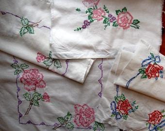 Bulk Needlework, Unfinished Roses Needlework, Bulk Embroidered Cutter Fabric, Four panels,  Sewing Supplies, Craft Supplies, Scrap Book