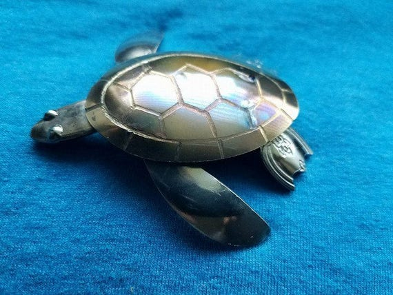 Sea Turtle - metal sculpture - Silverware Decor - Spoon Sculpture - small gift turtle - Turtle Spoon, Desk Gift Art -  Place Setting Decor