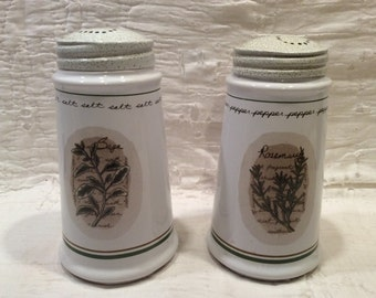 Beautiful vintage, very large, herb themed stone ware salt and pepper shakers, very beautiful, in excellent condition