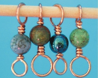 PEACOCK - Beaded Copper Stitch Markers - Set of 4 Dual Duty - US4 US8