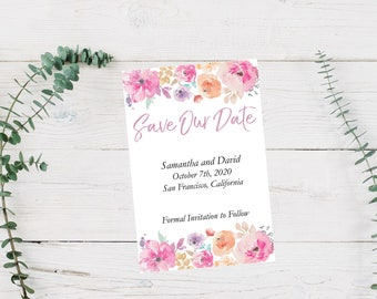 Save Our Date, Save the Date, Watercolor, Watercolor Flowers, Wedding, Wedding Announcement, Customizable, Printable, Save The Date Postcard