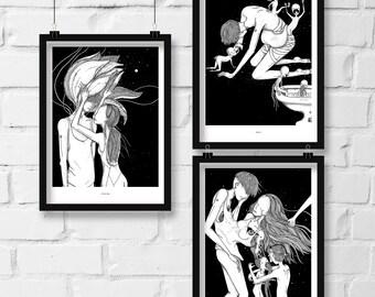 Co-exist/Digest/Consumed Trio prints. Illustration print, art print, black white print, wall decor, wall art