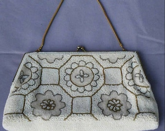 Vintage hand beaded cream and white floral evening bag bride mother of the bride