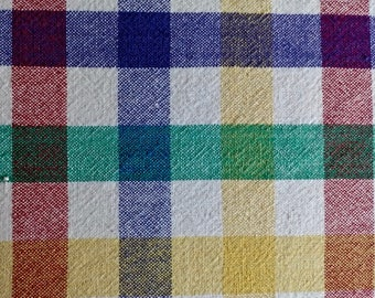 """Primary Colors Plaid Tablecloth - 54"""" ROUND"""