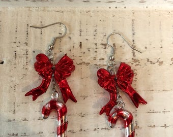 Red bow candy cane earrings