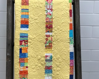 Baby Quilt Patterns for all your fabric scraps, crib size blanket quilt for your baby,  instant download baby quilt pattern, by Donna