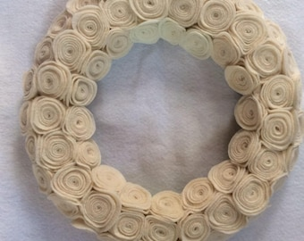 Off White Felt Fabric Rosettes Wreath