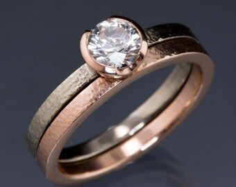 Bridal Set White Sapphire Rose Gold Half Bezel Solitaire Engagement Ring with Palladium Band and matching textured Rose Gold Wedding Ring