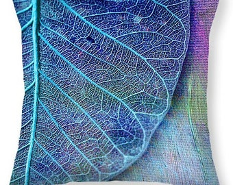 Decorative Pillow - BLUE SKELETAL LEAF design, textured, hand-painted pillow, home deco,