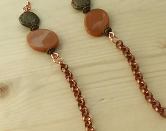 Copper chain earrings, copper dangles, drop earrings