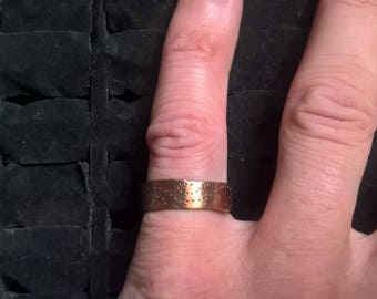 full band adjustable copper ring with unique pattern