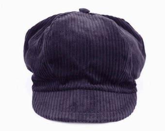 Velvet newsboy style cap ribbed gray