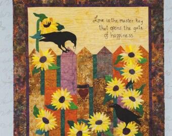 Downloadable Batik/Wool Art Quilt Crows Sunflowers