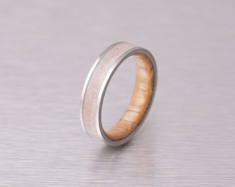 Mens Wedding Band with whiskey barrel ring wood and antlerTitanium Ring comfort fit
