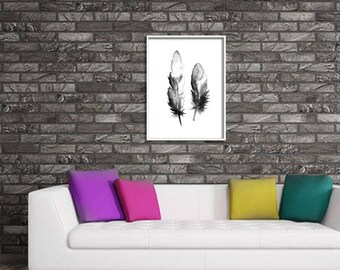 Home decor painting . jpg printable digital poster instant download,abstract, feather , decoration , digital , abstraction black  white wall