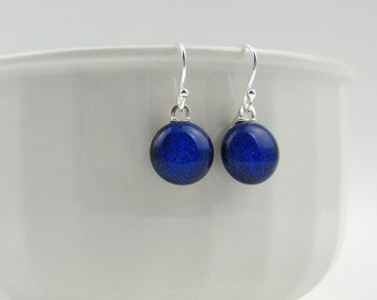Blue glass drop earrings, fused glass with sterling silver earwires