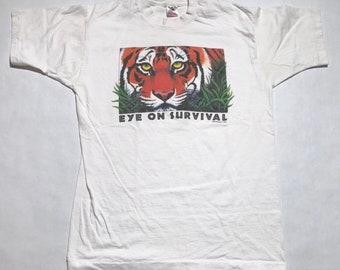 """Vintage """"Eye on Survival"""" Tiger T-Shirt"""