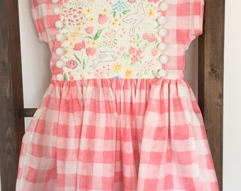 Girls EASTER Dress, SPRING dress, Dolman sleeves pom poms